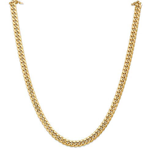 14k Yellow Gold 6.75mm Miami Cuban Chain Necklace 24 Inch Pendant Charm Curb Fine Jewellery For Women Gifts For Her