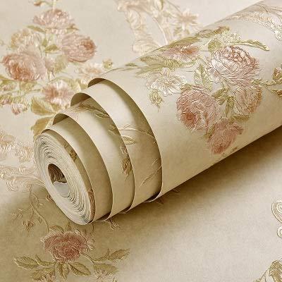 jidan European Style Pastoral Vliestapete Rolle 3D Geprägte Blumen-Wand-Papier for Schlafzimmer Wohnzimmer Fernseher Sofa Kulisse Wand 3D (Color : Khaki A, Dimensions : 5.3 Square Meter)
