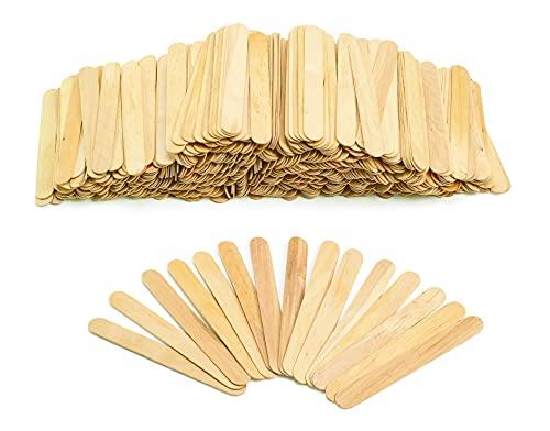 500 palillos de madera XXL de 150 x 17 x 2 mm, para manualidades, remover hielo, palitos de madera, palos, manualidades, helados, palo de madera + pieza de manualidades