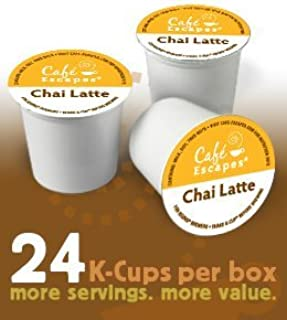 Chai Latte by Cafe Escapes for Keurig Brewers 24 K-Cups (Pack of 2)