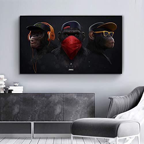 QWESFX Wandmalerei Poster und Drucke Leinwand Wandkunst Bilder Tierische Schimpansen mit Kopfhörer und Sonnenbrille für Wohnzimmer Wohnkultur (Druck ohne Rahmen) A5 60x120CM