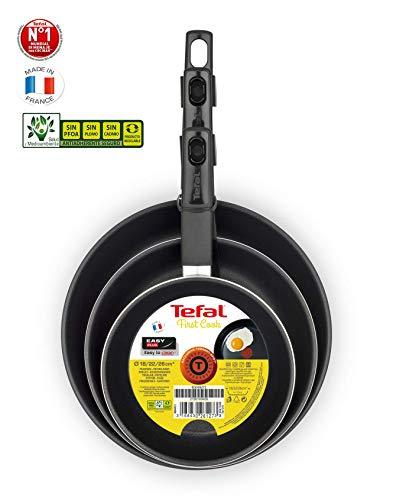 Tefal First Cook - Set de sartenes de Aluminio para Gas y Vitrocerámica,18/22/26 cm, Revestimiento antiadherente sin PFOA, cocina sana, mejor difusión del calor. Fabricadas en Francia - Sin Inducción
