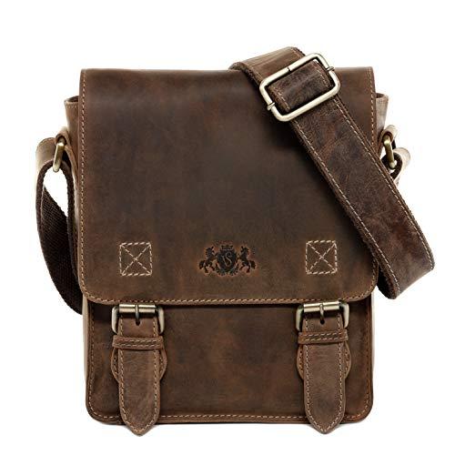 SID & VAIN Umhängetasche echt Leder Henry klein Crossbody Bag Laptop Schultertasche Ledertasche Unisex braun