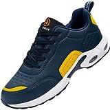 Fenlern - Zapatos de seguridad para hombre, ligeros cojines, zapatillas de seguridad, protección punta de acero, zapatillas de trabajo, color amarillo, azul, negro y gris, Amarillo (Jaune Bleu), 42 EU