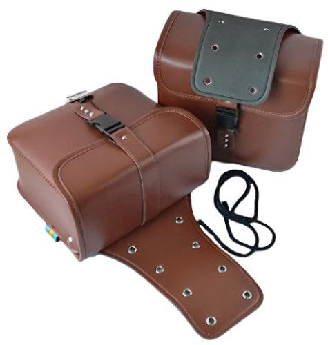バイク 用 サイドバッグ 大容量 収納 2個 セット 防水 ツールバッグ 旅行 ツーリング (ブラウン)