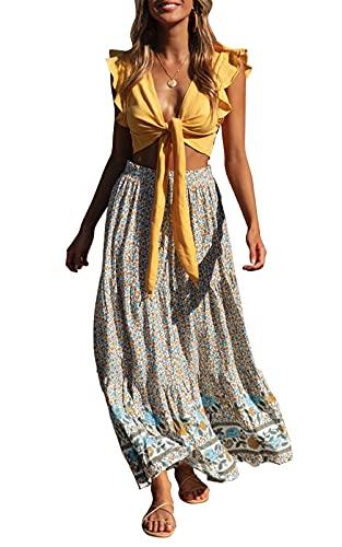 ZESICA Women's Bohemian Floral Printed Elastic Waist A Line Maxi Skirt with Pockets Cream
