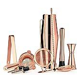 11pc Copper Boston Shaker Set para Bartens o Mixologists - Accesorios de vestidos de barra de la barra, kit de barmixer de acero inoxidable con agitador, trampas de grunge, jigger, cócteles,Rosado