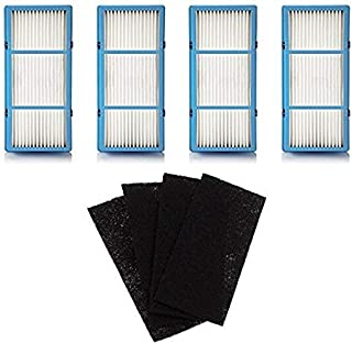 Nispira 4 Replacement HEPA Filter + 4 Charcoal Booster Pre Filter for Holmes AER1 Total Air Filter, HAPF30AT for Purifier HAP242-NUC