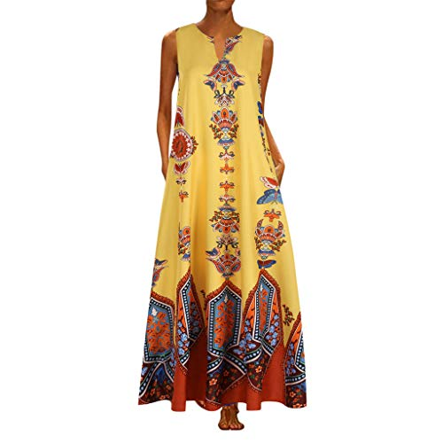 aihihe Womens Plus Size Long Maxi Dresses Summer Casual Boho V Neck Sleeveless Loose Maxi Dress with Pockets