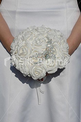 Lovely White Rose & Crystal Brooch Wedding Small Bridal Bouquet