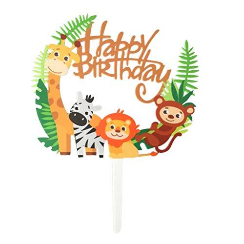 STOBOK Kuchen Topper Glitter Tier Löwe AFFE Giraffe Zebra Form Kuchendeckel Kuchendekoration Baby Duschen Geburtstag Hochzeit Party Zubehör (Bunt)