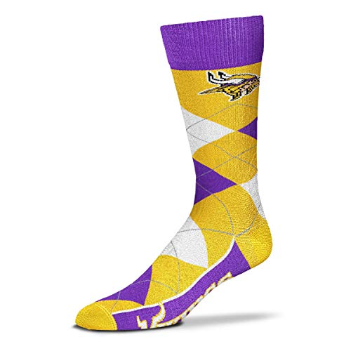 For Bare Feet - NFL Argyle Lineup Men's Crew Socks - One Size Fits Most (Minnesota Vikings)