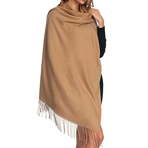 Womens Thick Soft Cashmere Wool Pashmina Shawl Wrap Scarf - Aone Warm Solid Color Stole(Camel), Large