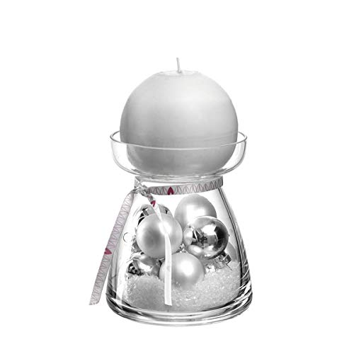 LEONARDO - Vivo - GK - Kerzenleuchter/Kerzenhalter - Glas - Klar/Silber - (HxBxT) 21,6 x 10,2 x 10,2 cm - Set: Leuchter + Kerze + Deko