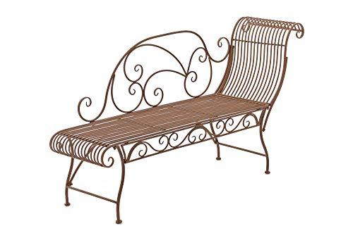 CLP Eisen-Gartenbank Karma I Recamiere mit romantischen Verzierungen I Robuste Sonnenliege aus Eisen I erhältlich, Farbe:antik braun
