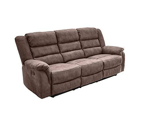 lifestyle4living Sofa mit Relaxfunktion in Braun, 3-Sitzer Relaxsofa, Vintage, Stoff/Federkern-Polsterung | Gemütliche Relax-Couch in modernem Design