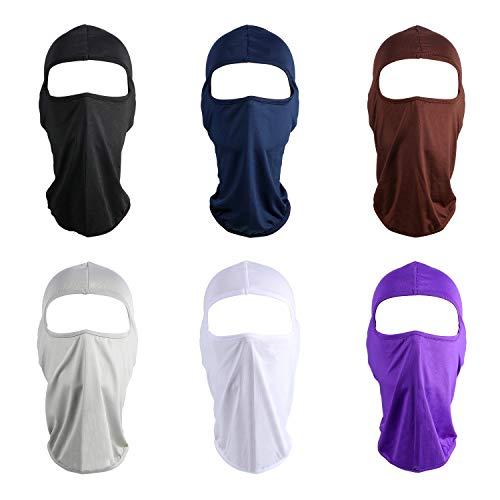 Syhood 6 Piezas Pasamontañas Máscara Facial Completa Protección contra Polvo Solar Máscara de Esquí Cubierta de Cuello Transpirable para Suministros Deportivos de Caza Pesca