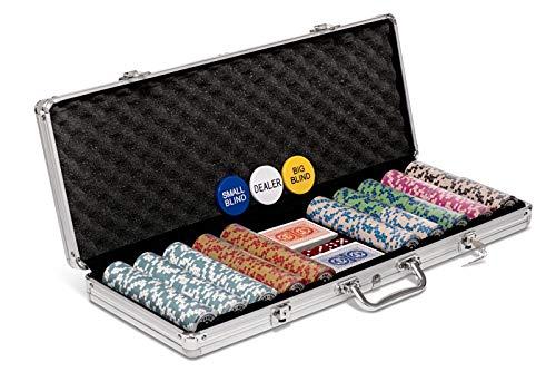 Poker Night Pro Set di fiches da Poker Texas Holdem da 500 Pezzi con Grande Valigetta in Alluminio qualità Chips numerate 14g, 2 mazzi di Carte da Gioco Professionali in PLASTICA, Bottoni e 5 Dadi