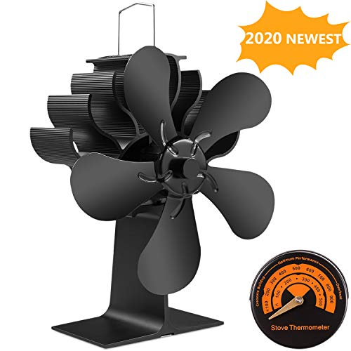 5 Blades Wood Burning Stove Fireplace Fan - Improved PYBBO Silent Motors Heat Powered Circulates Warm/Heated Air Eco Stove Fan for Gas/Pellet/Wood/Log Stoves with Magnetic Thermometer