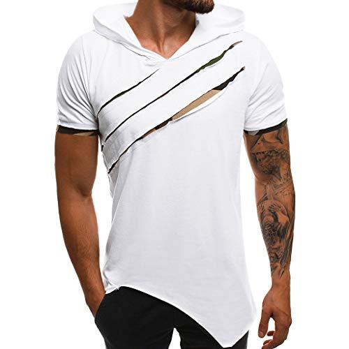 Xmiral T-Shirt Herren Kapuzenpullover Hoodie Sweatshirt Kurzarm Zerrissene Unregelmäßig Tops Wählbar Schwarz Vatertag Weihnachten Männer Geschenk(Weiß,XXL)