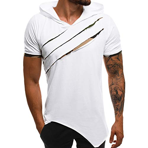 Yowablo Kapuzen T Shirt Herren Sommer Casual Patchwork Slim Kurzarm Top Bluse (3XL,Weiß)
