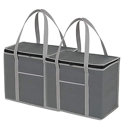 TERMAELY 2 borse per la spesa riutilizzabili isolate, borsa spesa termica borsa termica grande per picnic, borsa per la consegna del cibo con tasca, borse per la spesa per cibi caldi o freddi