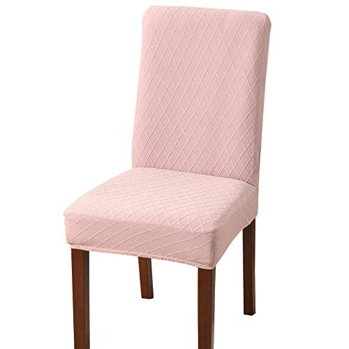 Suuki Kitchen Chair Covers for Dining Chairs,Covers for Party dining chairs,Removable Seat Chair Covers,Spandex Washable Chair Slipcovers for Home,Hotel,Wedding Banquet-pink_Pack_of_2