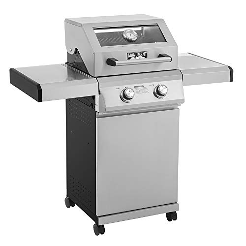 Monument Grills 14633 2-Burner Stainless Steel Propane Gas Grill with Clear View Lid, LED Controls, Built in Thermometer, and Adjustable Side Shelves