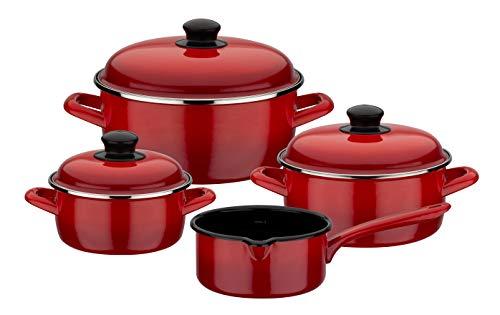 GSW Batería de cocina Red Shadow de 7 piezas, Acero esmaltado, rojo y negro