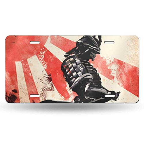 WALL-8-CC Art Japanese Warrior License Plate for Decorative Car Front,Vanity Tag,Metal License Plate,Aluminum Novelty License Plate,6 X 12 Inch (4 Holes)