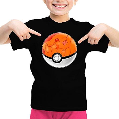 T-Shirt Enfant Fille Noir Pokémon parodique La Poké Ball de Pikachu : Pika Pas Cool ! (Parodie Pokémon)