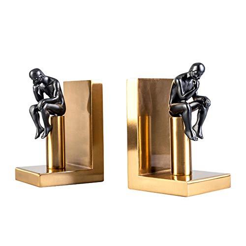GSAG Carácter Abstracto Bloque De Libro Sala De Estudio Moderna Adornos De Metal De Bronce Libro por Adornos Creativos Muebles para El Hogar Sujetalibros Europeos Estatua