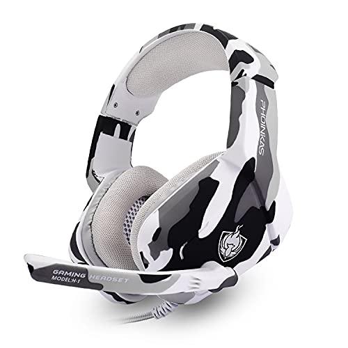 Auriculares Gaming PS4 PS5, Cascos Gaming con Micrófono, 3D Sonido y Reducción de Ruido, Jack 3,5mm, Cascos Gaming Control Volumen, Diadema Acolchada y Ajustable, Micrófono Flexible - Tarnung