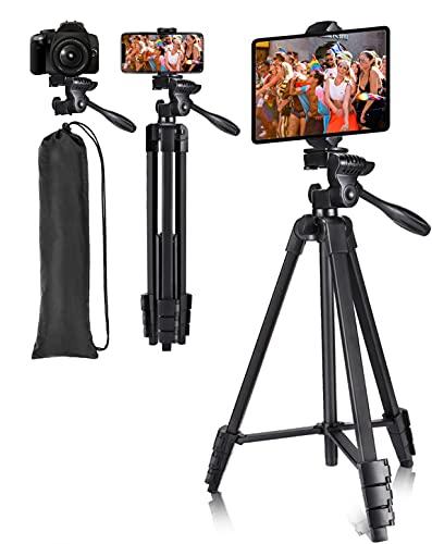 Victiv Trípode Tablet Móvil 140 cm, Trípode de Viaje Ultraportátil para Teléfono Móvil y iPad, Trípode Compacto y Ligero con Soporte para Teléfono y Tableta 2 en 1