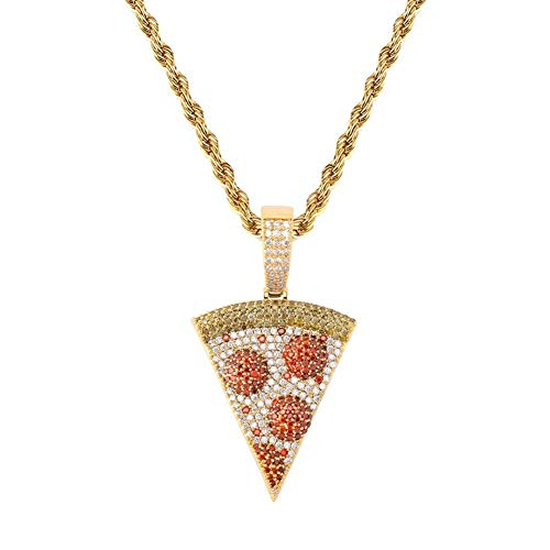 KMASAL Jewelry Hip Hop Iced Out Exquisite Pizza Pendant Chain Pave Colorful Diamond 18K Gold Plated Solid Back Necklace with 24 Inch Stainless Rope Chain for Men Women (Gold)