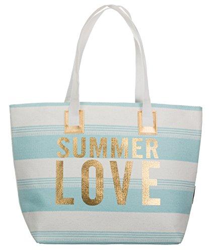 Bari BRANDSSELLER Strandtasche Sommer Love Damen Schultertasche Shopper Sommer Tasche Druckknopf Verschluss Größe 54x18x35 cm - Hellblau