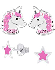 FIVE-D 2 pendientes infantiles de unicornio elefante de plata de ley 925 (estrella rosa - unicornio).