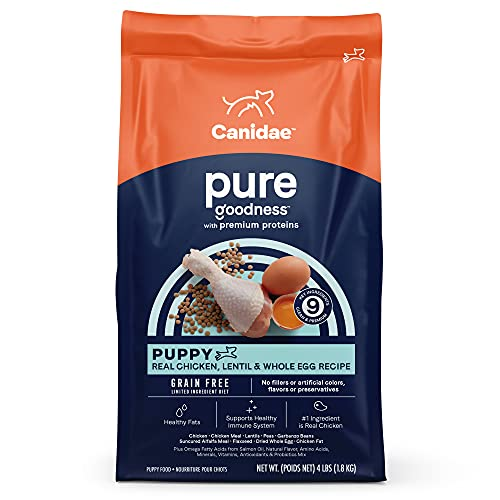 Canidae PURE Grain Free, Limited Ingredient Dry Puppy Food, Chicken, Lentil and Whole Egg, 4lbs
