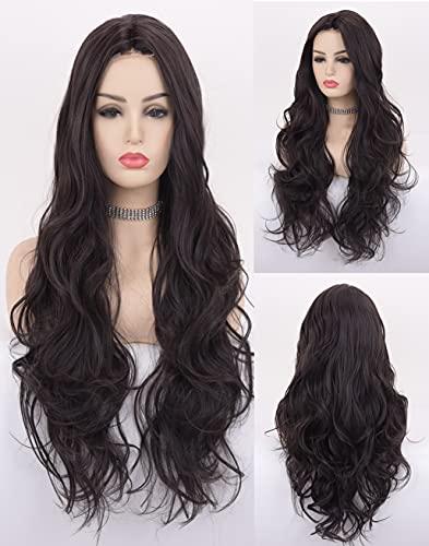 VEBONNY Perücke für schwarze Frauen, Kunsthaar, schwarze Perücke, natürlich aussehend, lockig, schwarze Lace-Front-Perücke, 61 cm, Mittelteil, hitzebeständig, VEBONNY-058