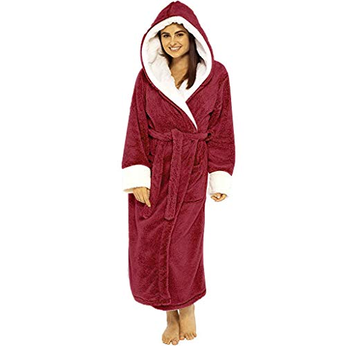 ELECTRI Peignoir Femme Polyester Robe de Chambre Chaud Long Peignoir de Bain Hiver Longue Pas Cher, Ensemble de Pyjama en Polaire Ultra Douce col