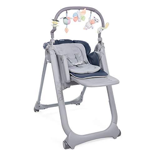 Chicco Polly Magic Relax Baby Hochstuhl ab Geburt bis 3 Jahre (15 kg), Verstellbarer Baby Hochstuhl inklusive Liegefunktion mit 4 Rädern, Kompakter Schließung, Spielbogen und Sitzverkleinerer