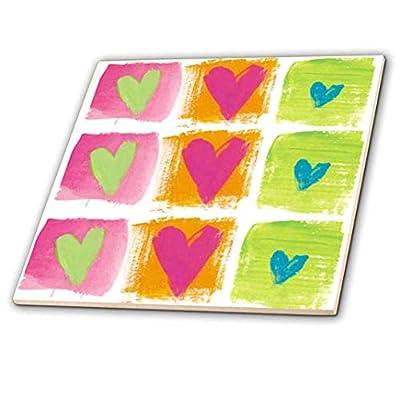 """3dRose ct_17694_1 All Hearts-Ceramic Tile, 4"""",Multicolor"""