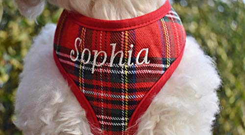 Handmade in USA Personalized Custom Red Stewart Plaid Padded DOG Harness | Adjustable Soft Comfortable | Name Embroidery Option