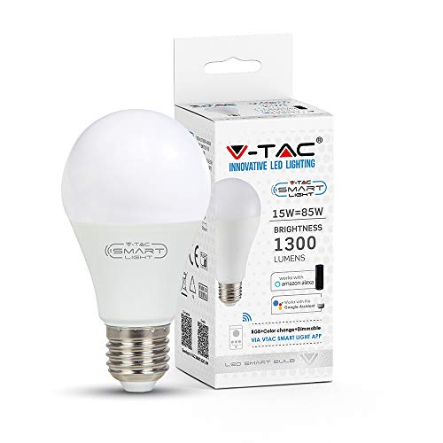 Lampadina LED V-Tac Smart VT-5117 Wi-Fi E27 15W Bulb A65 RGB+W 4in1 Dimmerabile - SKU 2753