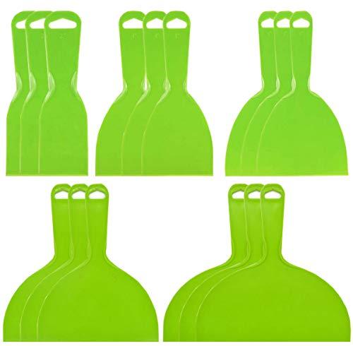 Liuer 15PCS Espátulas de Plástico Espátulas para Masilla Flexible Herramienta de Raspadores de Pintura Adecuado para Alisar Pegamento Yeso y Otros Selladores(2/4/6/8/10 Inch)