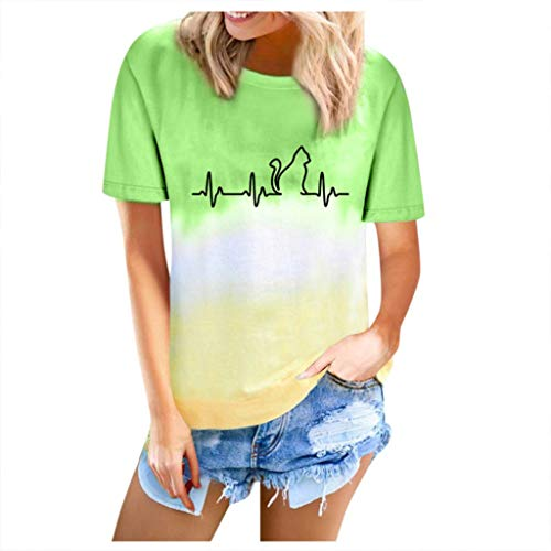 Binggong Farbblock T-Shirts Damen Rundhals Casual Oberteile Sommershirt Frauen Tie Dye Print Tank Top Basic Sommertop Weste Kurzarmshirt Bluse Streetwear