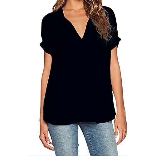 ASCHOEN Damen Bluse Sommer Kurzarm T-Shirt V-Ausschnitte Shirt Chiffon Einfarbig Elegant Casual Oberteile Top Schwarz XXL