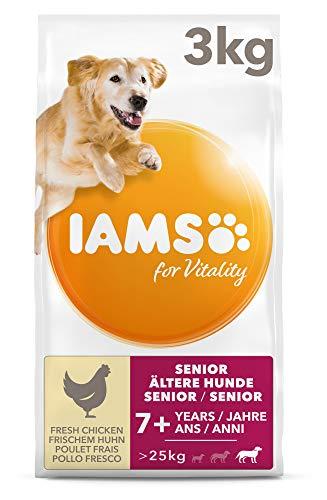 IAMS for Vitality Senior Hundefutter trocken für große Rassen mit frischem Huhn, 3kg