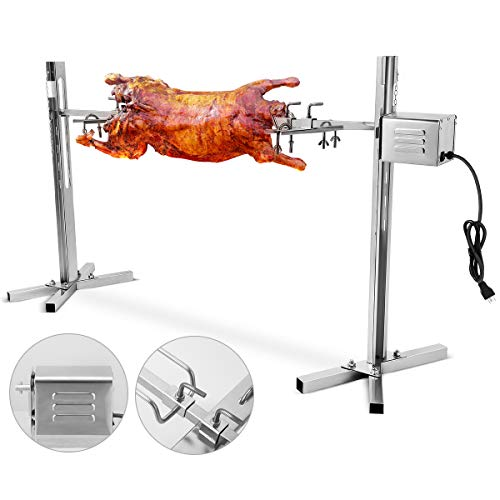 ETE ETMATE Electric Rotisserie Kit, 15W Universal Complete Large Grill Roaster Rod, Pig Chicken Hog Lamb Charcoal Cooker, Stainless Steel Outdoor Use Rotisserie Spit
