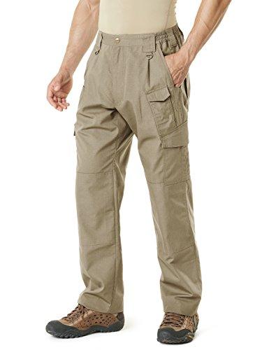 CQR CQ-TLP105-KHK_36W/32L Men's Tactical Pants Lightweight EDC Assault Cargo TLP105